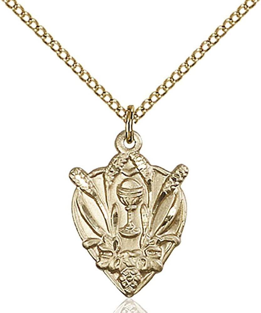 Bonyak Jewelry Gold Filled Communion Pendant 3/4 x 1/2 inches with Gold Filled Lite Curb Chain