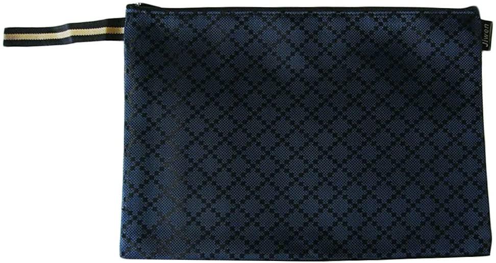 2PCS Waterproof File Pocket Document File Stationery Zipper Bag, Deep Blue