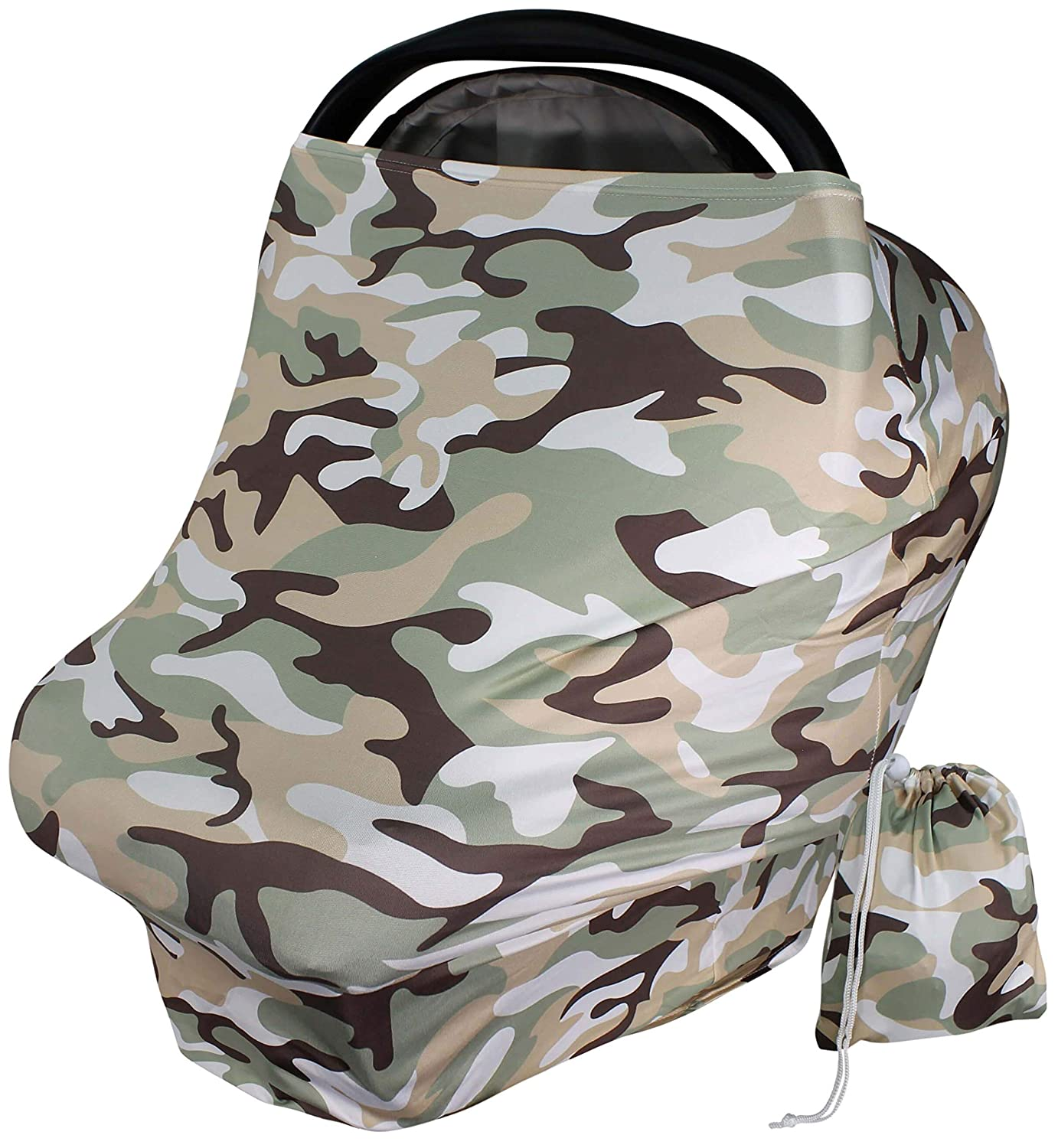 Baby Car Seat Cover Canopy - Olive Green Camo