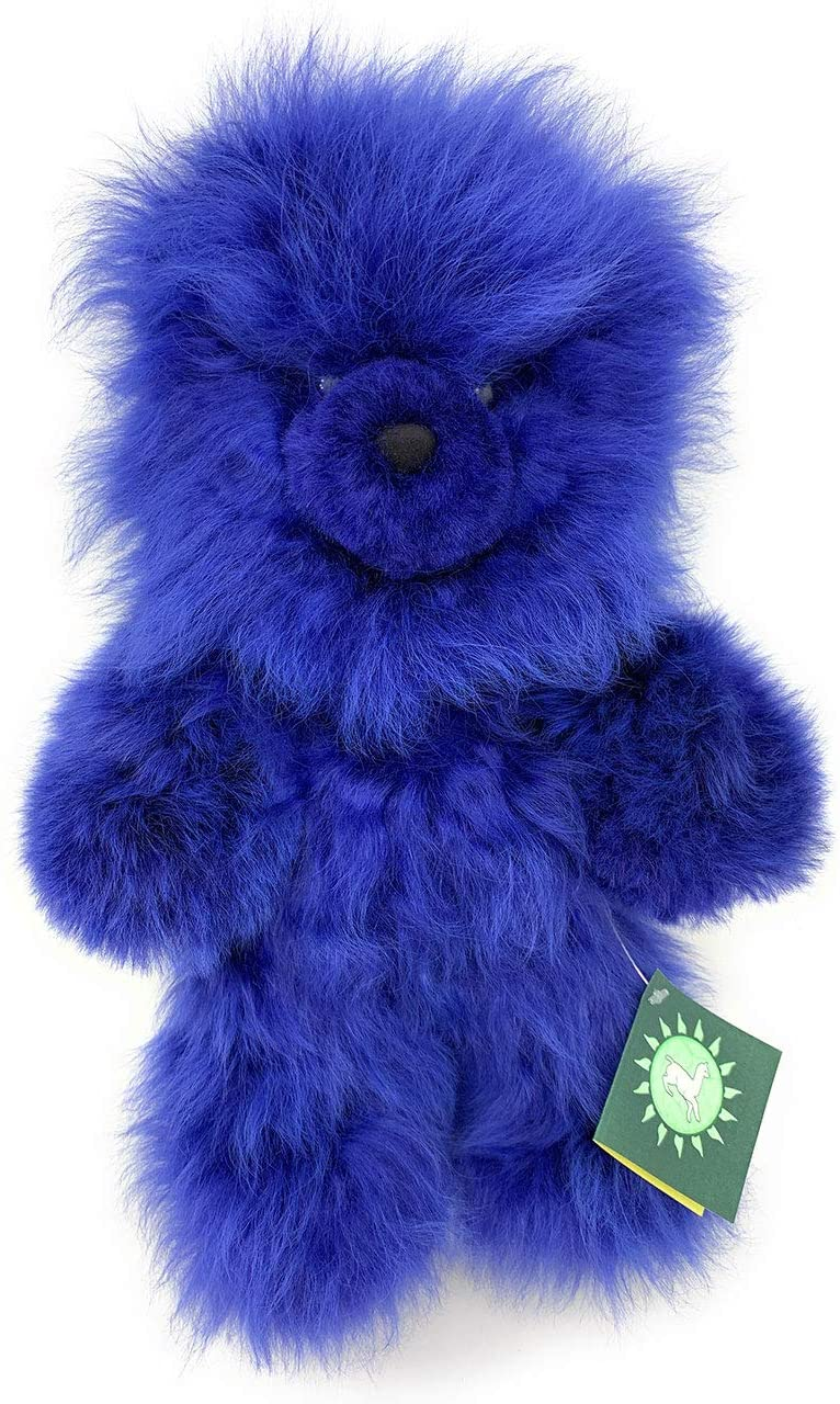 Inca Fashions - 100% Baby Alpaca Fur Teddy Bear - Hand Made- Fun Colors for Boy's and Girl's - Hypoallergenic & Pillow Soft (Blueberry, 12 Inch)