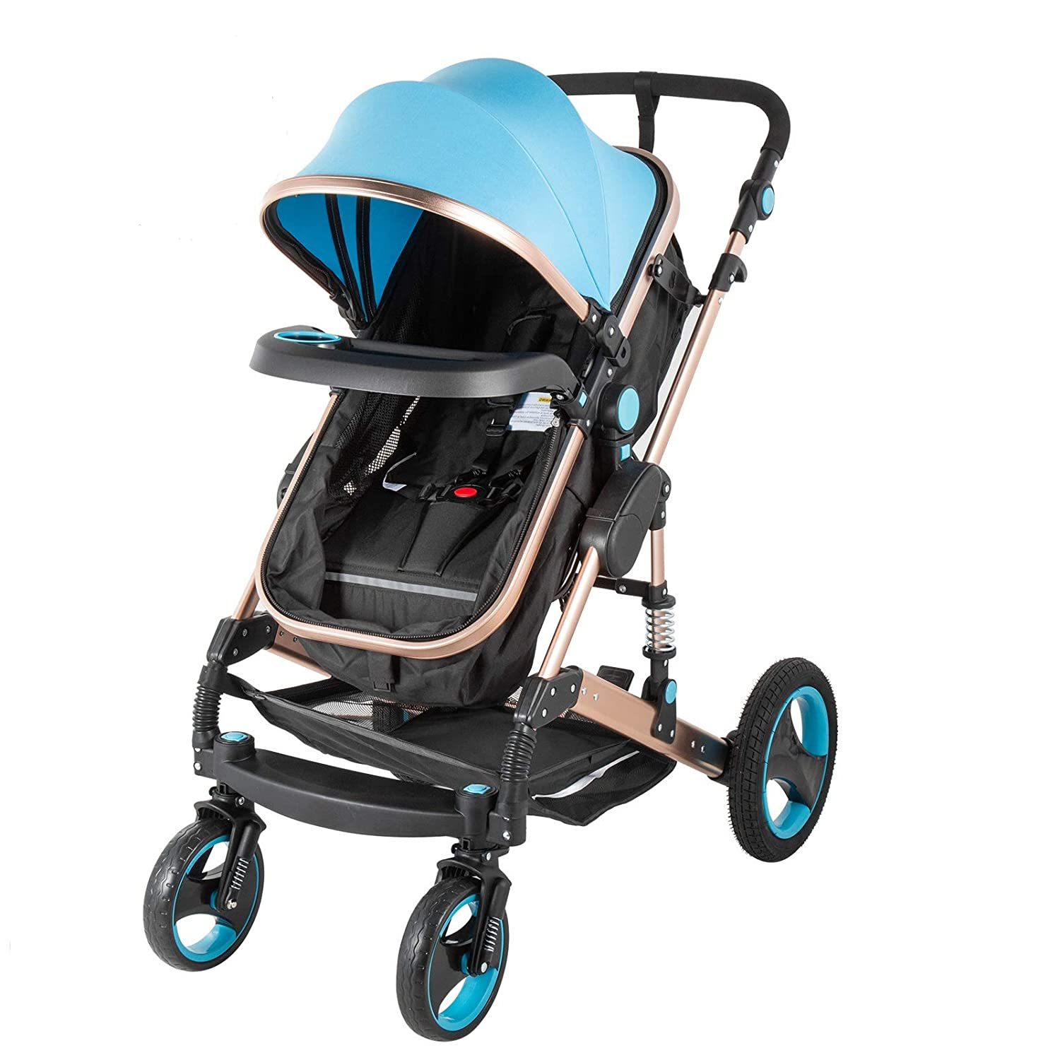 Happybuy 2 in 1 Portable Baby Stroller Blue Anti-Shock Springs Foldable Luxury Baby Stroller Adjustable High View Pram Stollers for Babys
