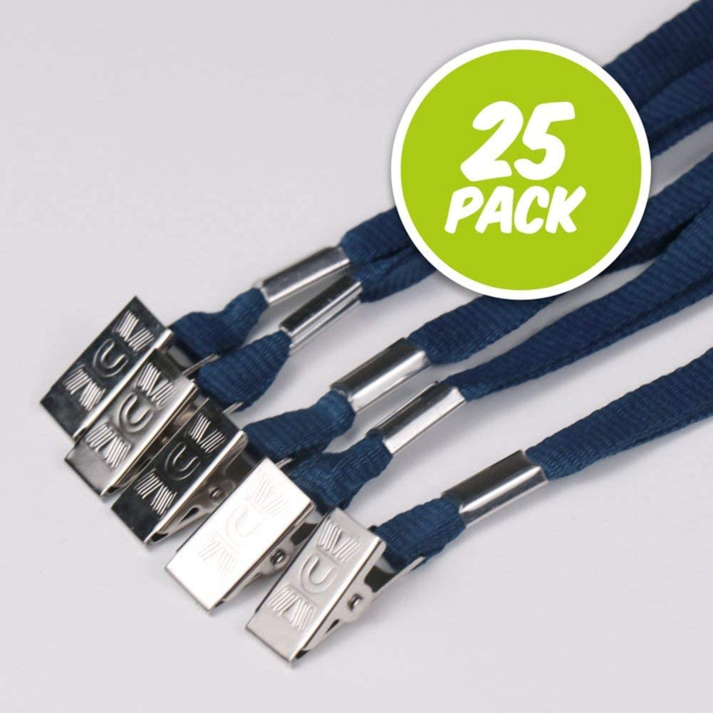 Blue Flat Woven Polyester Lanyards - Metal Bulldog Clip for Holding ID Badges - 36 inches - 25 Pack
