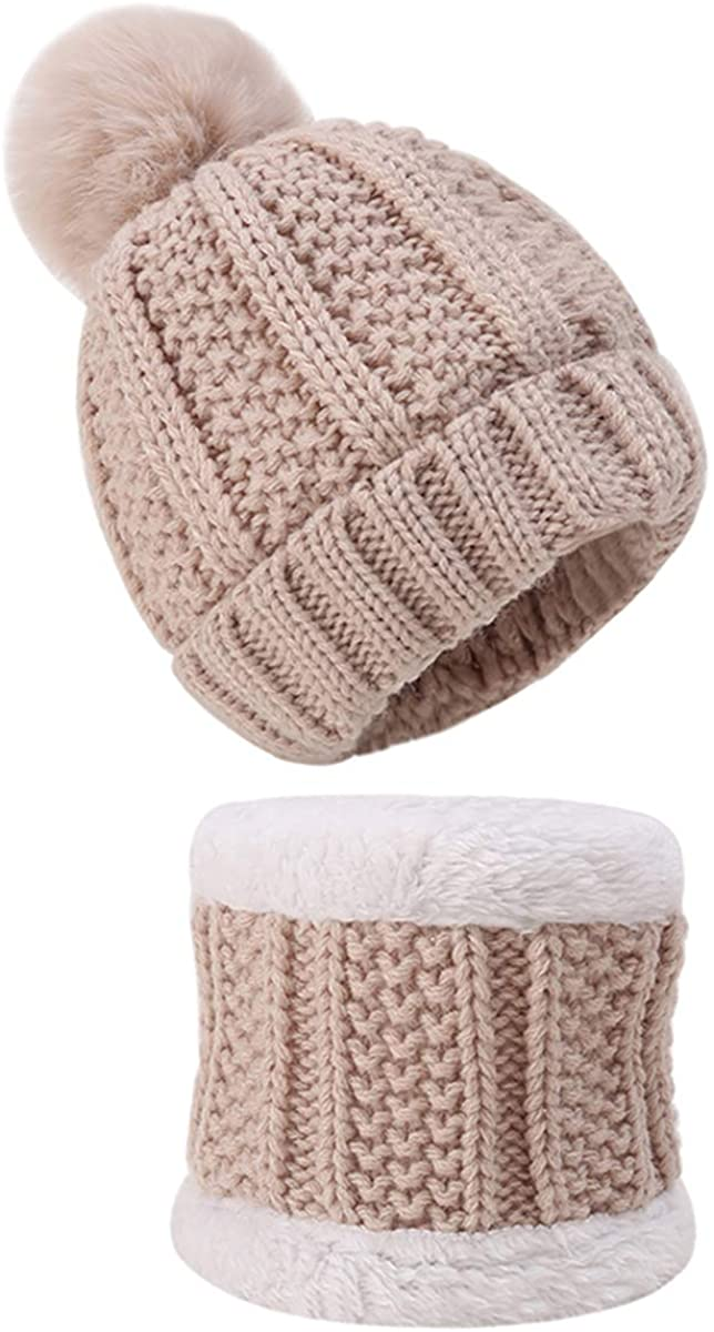 2pcs/Set Baby Toddler Winter Hat Scarf Set Kids Warm Fleece Lined Knit Beanie Hat Neck Warmer Circle Scarf for Baby Girl Boy