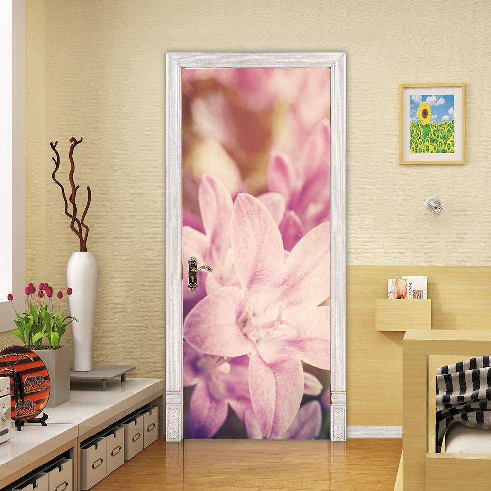 3D Door Sticker Wall Decals Mural Wallpaper Pink Flowers DIY Art Home Decor Decoration 30.3