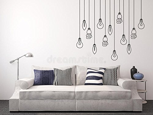 Light Bulbs Hanging - Mural Wall Decal for Home Bedroom Living Room Removable Wall Stickers (J72) (Wide 20