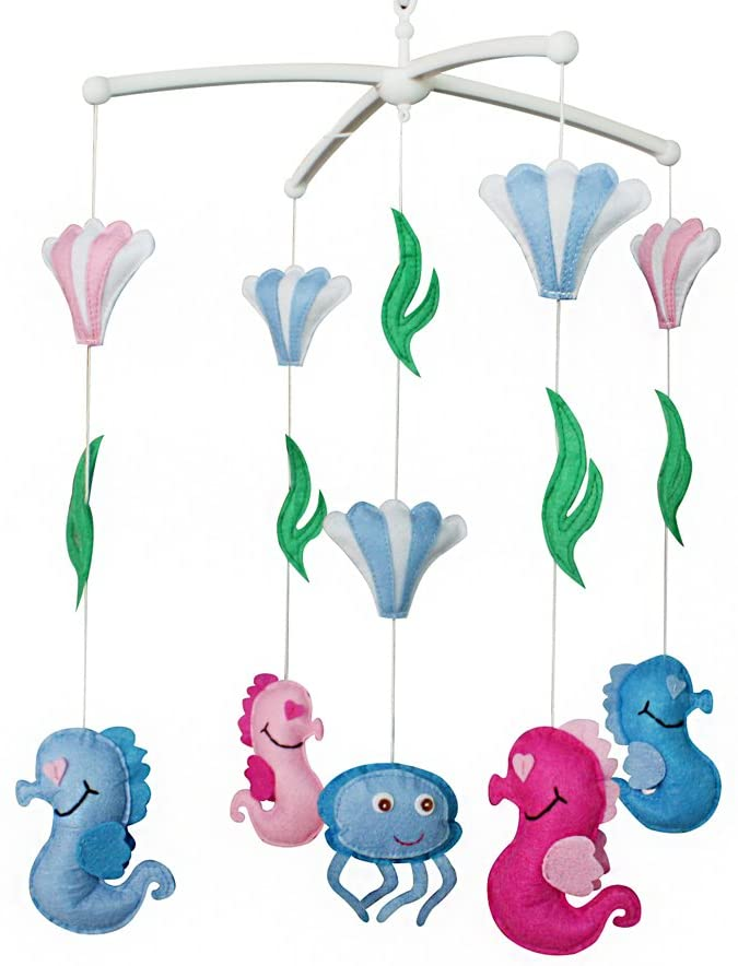 Panda Legends Baby Crib Mobile Infant Toy Baby Nursery Mobile Hanging Bed Decor for Boys Girls Baby Shower, Blue and Pink Seahorse