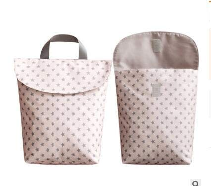 Owlike 1PC Waterproof Baby Diaper Bag Travel Nappy Organizer Bag with Handle- Pink Star/L