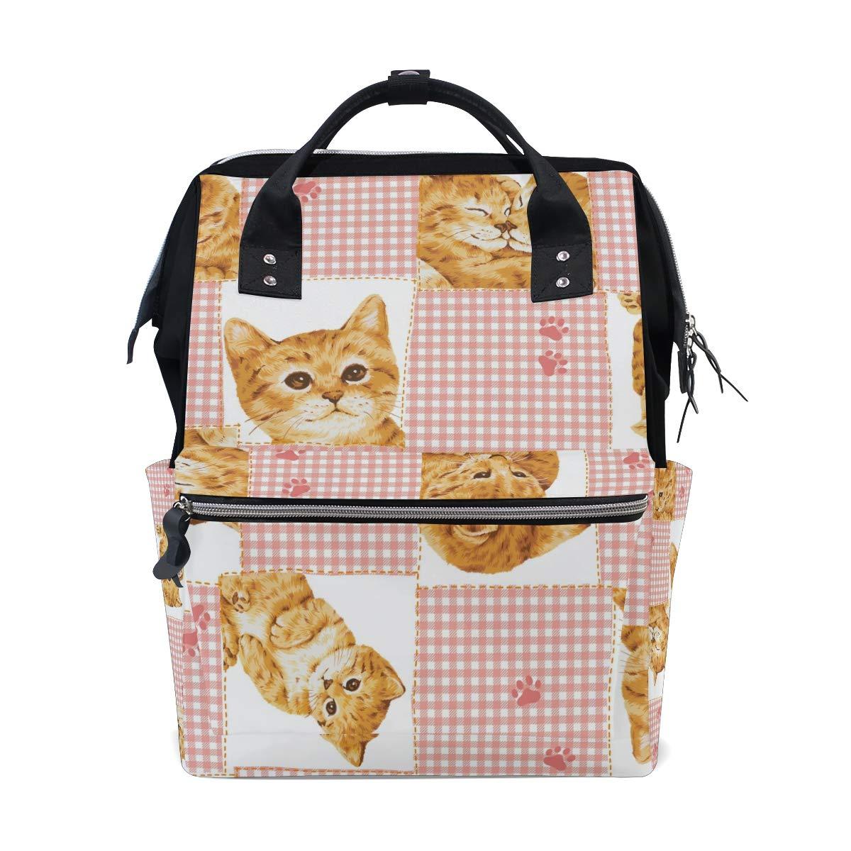 MERRYSUGAR Diaper Bag Baby Bag Backpack Kitten Checks Pink School Backpack Mommy Bag Large Multifunction Travel Bag