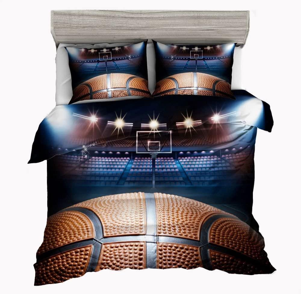 SxinHome Basketball Theme Bedding Set for Teen Boys, Duvet Cover Set,3pcs 1 Duvet Cover 2 Pillowcases(No Duvet&Comforter Inside), Queen Size