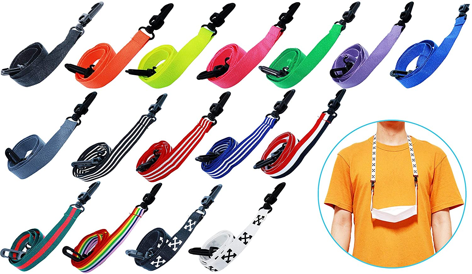Scone - 1pc, 3pcs - 32types Face Mask Lanyard with Safe Plastic Clips - 2sizes Adjustable for Kids and Adults -16 Designs - Neon Orange - Mask Holder Chain Strap Anti-lost Mask Lanyard