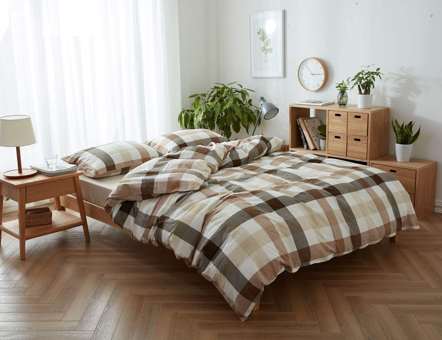 Jane yre Geometric Yellow Plaid Duvet Cover Set Queen,Washed Cotton 3 Piece Grid Bedding Set with Zipper Closure and 4 Corner Ties Luxurious, Comfortable, Breathable, Soft (No Comforter)