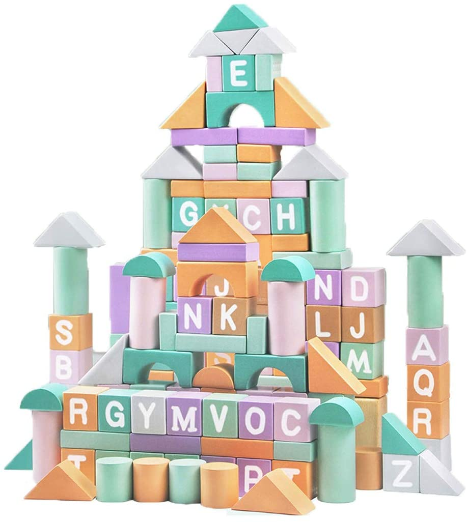 80-Piece Wooden Blocks Set Puzzle Building Blocks Early Education Toys Wooden Stacking Toys