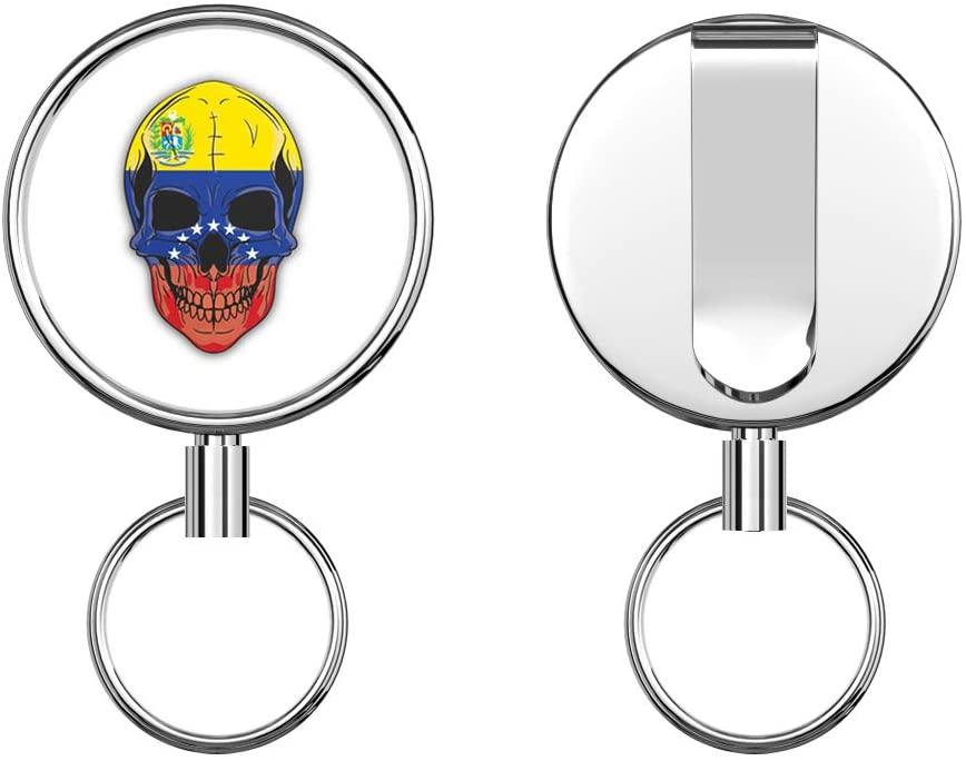 Skull Flag Venezuela Retractable Badge Holder Reel Metal ID Badge Holder with Belt Clip Key Ring for Name Card Keychain