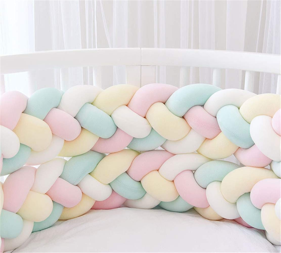 Baby Crib Bumper 4 Weave Bumper Braid Pillow Cushion Bed Snake Braided Bumper Decoration for Crib Cot Newborn Gift Cradle Decor (2.2M(86.6 Inch), White + Pink + Green + Yellow)