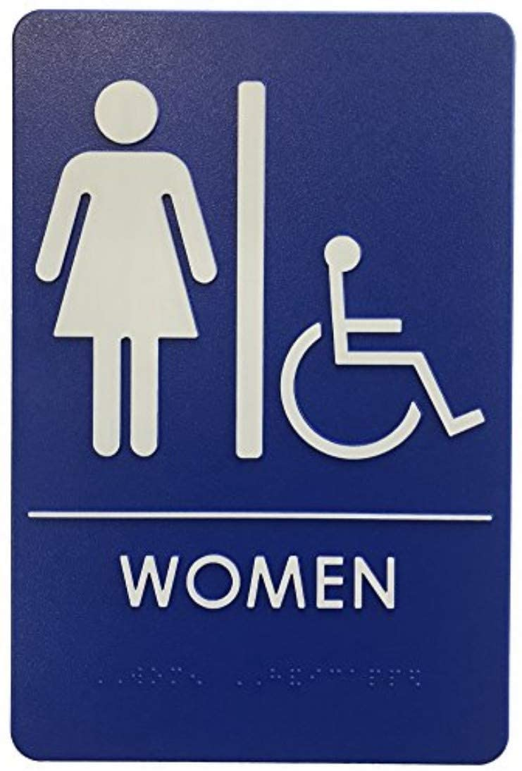 London Health Products Womens Restroom Sign - ADA Compliant - Blue & White - Includes Adhesive Tape and Instructions