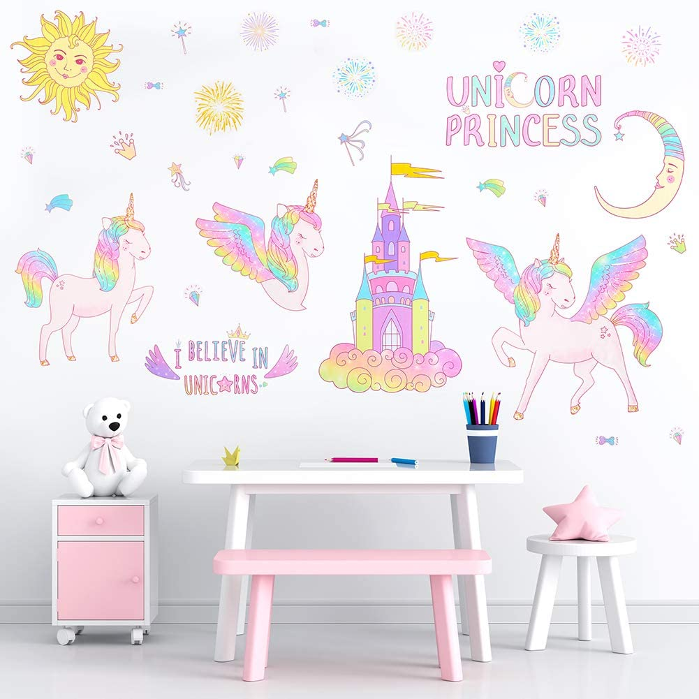 Basumee 4 Sheets Unicorn Wall Stickers for Kids Girls Removable Wall Decal Decor for Home Bedroom Nursery Living Room Party Kids Gift, Rainbow