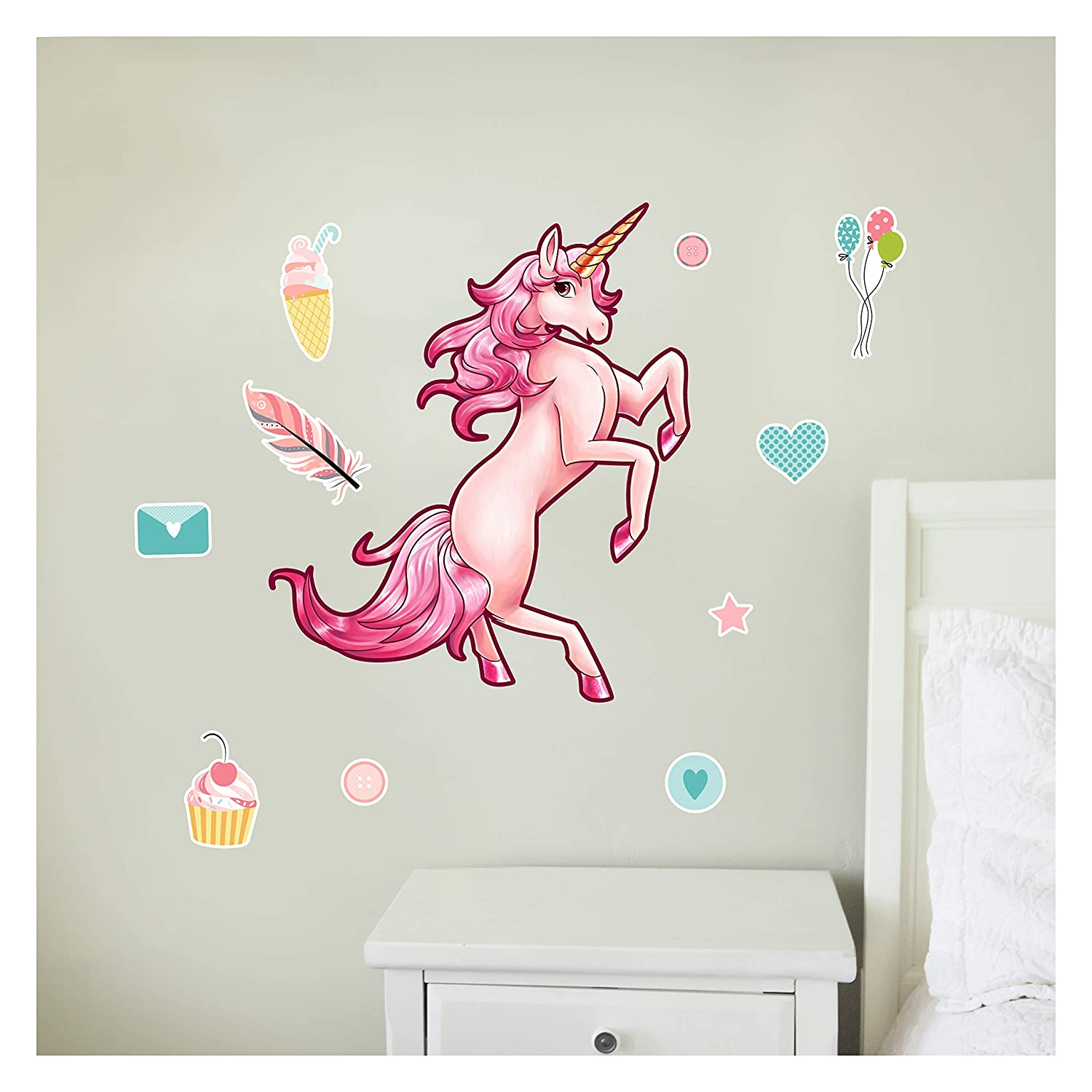 Pink Unicorn Wall Decal - 12 Piece Augmented Reality Unicorn Decal - Kids Wall Stickers for Bedroom are Easy to Put Up On Wall & Peel Off - Unicorn Room Decor for Girls