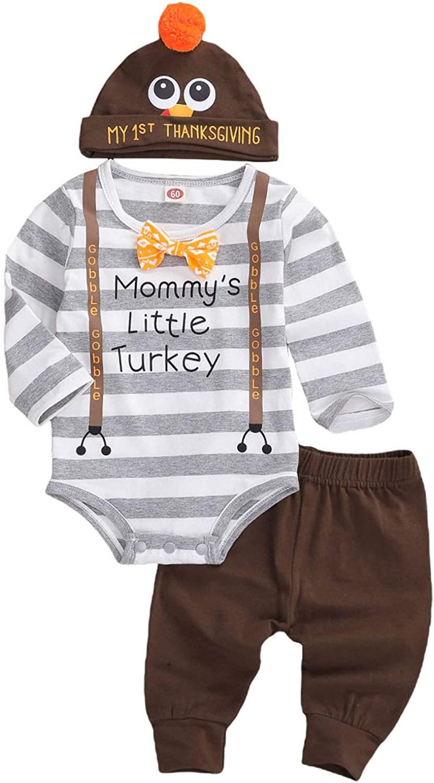 YUION Thanksgiving Newborn Baby Boy Outfit Romper Pants Set Turkey Hat 3pcs Thanksgiving Baby Boy Clothes 0-18M