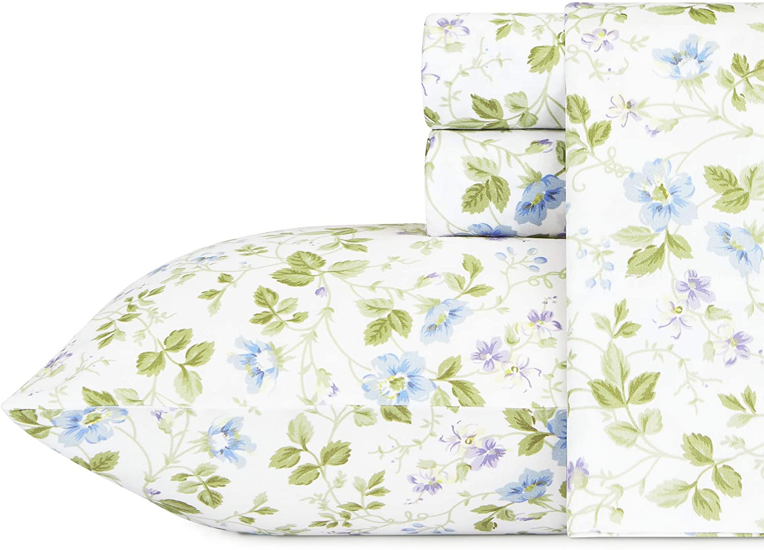 Laura Ashley Home Sateen Collection Bed Sheet Set - 100% Cotton, Silky Smooth & Luminous Sheen, Wrinkle-Resistant Bedding, Queen, Spring Bloom Wildflower