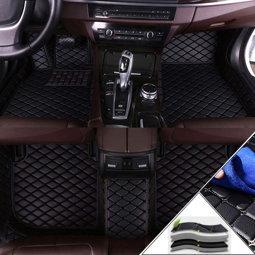 Muchkey Custom Car Floor Mats for GMC Full Coverage All Weather Protection Front & Rear Liner Set Black
