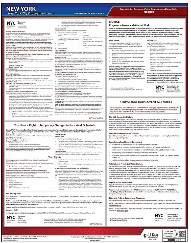 New York City Administrative Code Employment Laws Poster - 20