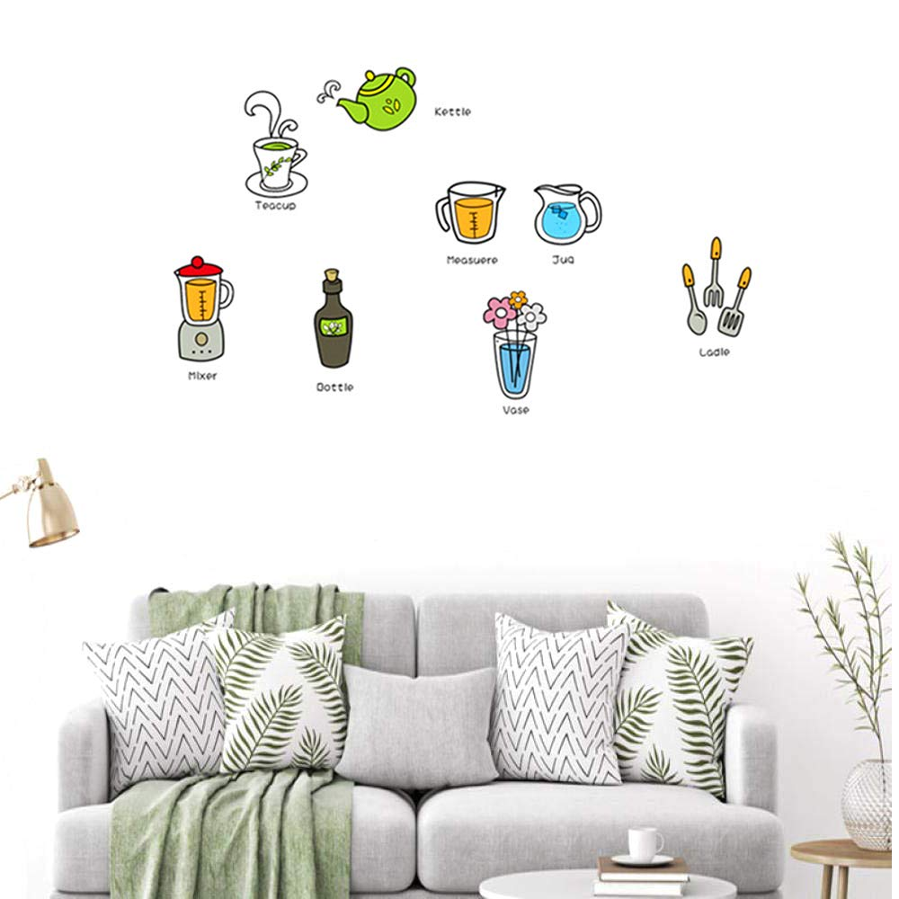 Wall Sticker with Bottle Cup Kettle Cute Vinyl Decal Decoration for Kitchen Cupboard (Size 30x45cm)