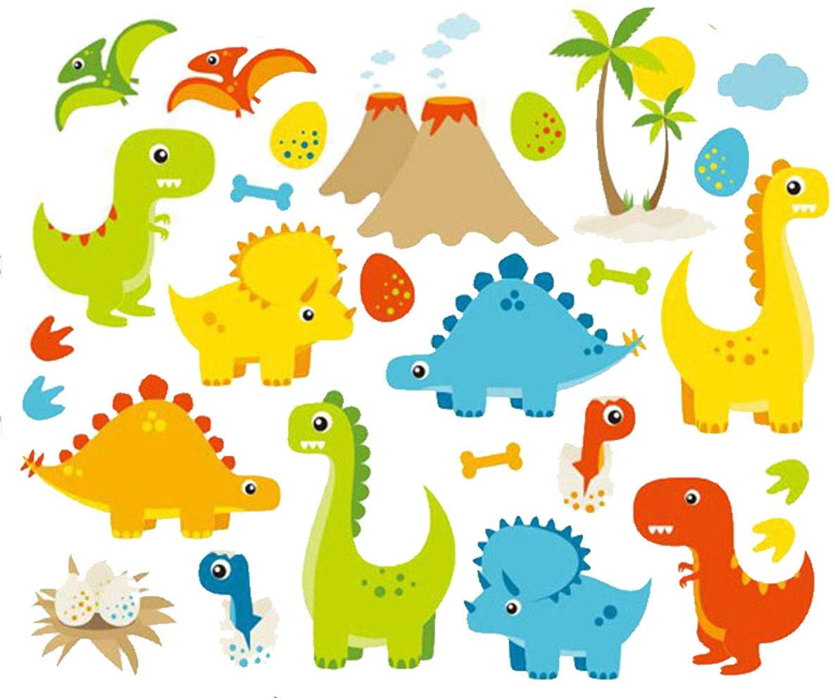 HERRA Dinosaur Animal Kids Wall Decal Wall Sticker, Home Decor Peel and Stick Removable Wall Stickers Wall Mural for Kids Nursery Bedroom Living Room.