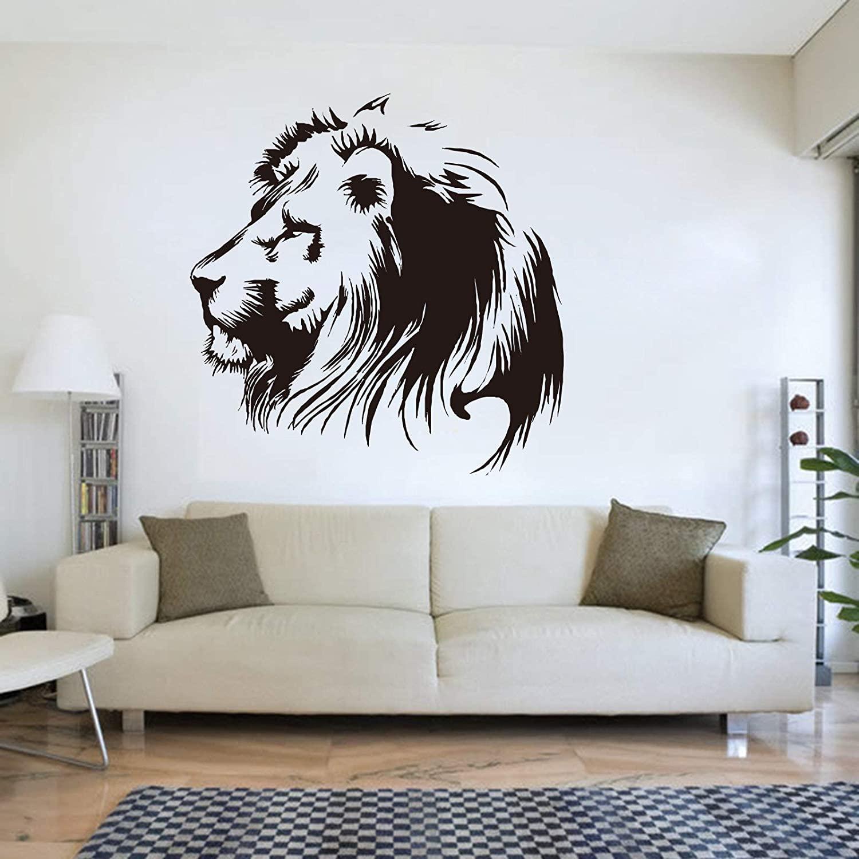 Cartoon Lion Wall Decal Lion Animal Head Wall Sticker Vinyl Art Kids Room Bedroom