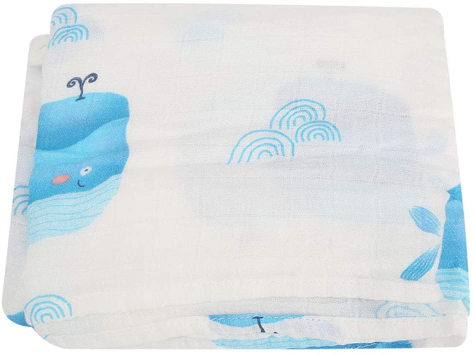 OhhGo Newborn Baby Cotton Hooded Bath Towel Bathrobe for Kids (Whales)