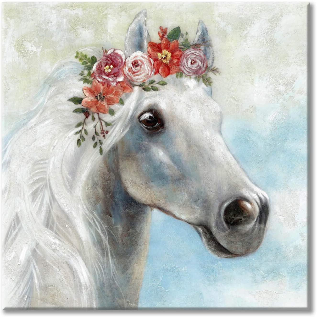 White Horse Canvas Wall Art: Animal with Flower Canvas Painting Artwork for Dining Room (36'' x 36'' x 1 Panel)