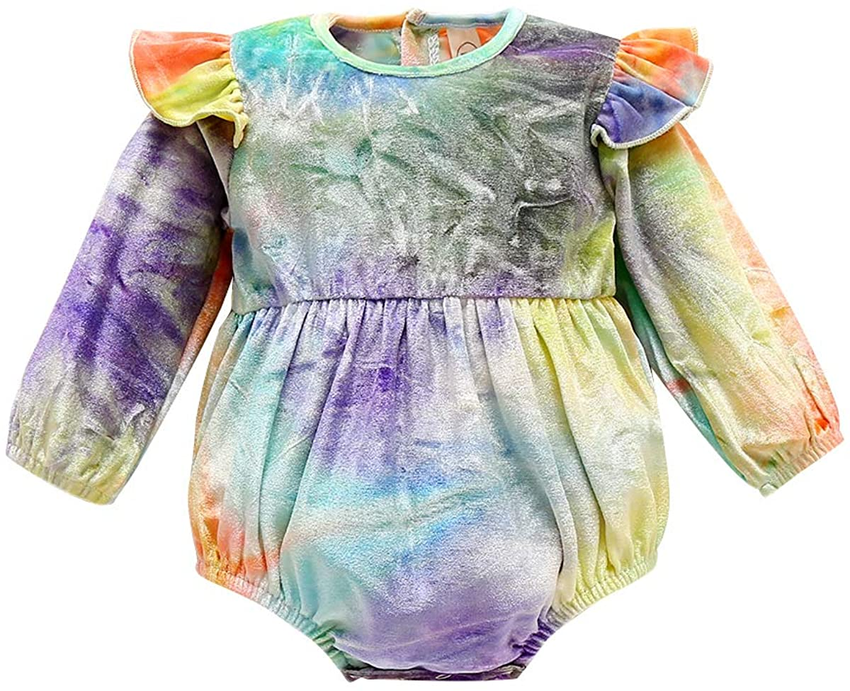 suomate Infant Baby Girl Fall Winter Clothes Velvet Long Sleeve Ruffle Romper Bodysuit Jumpsuit Tie Dye Outfit One Piece