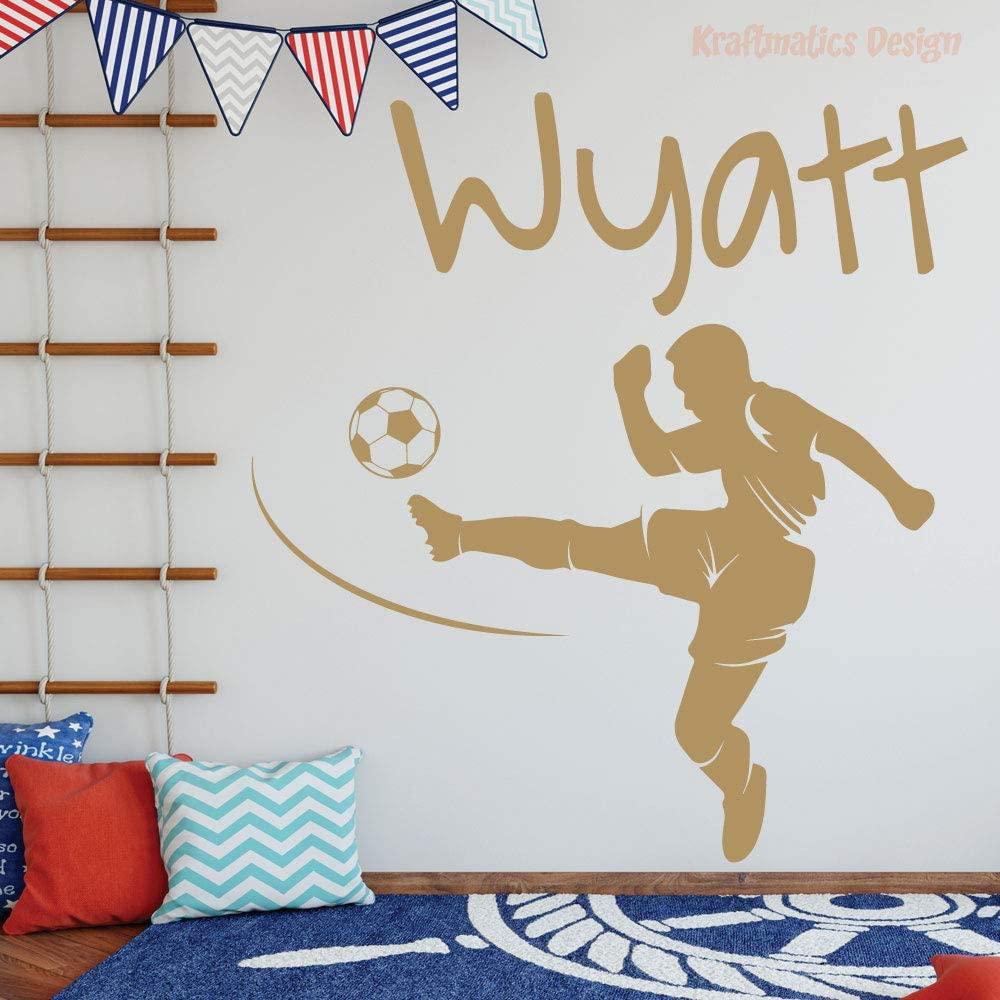 Soccer Custom Name Sports Series Nursery Wall Decal Vinyl Sticker for Home Decor. (Medium W 30 x H 20)