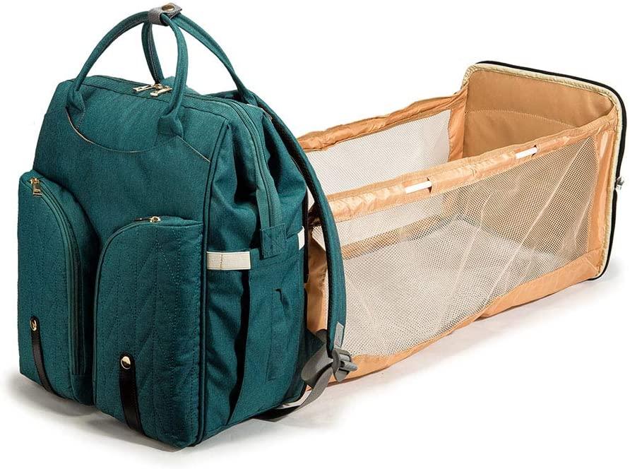 YU-NIYUT Baby Nappy Changing Bag Portable Folding Crib Diaper Backpack Stroller Straps Multi-Function Storage Backpack for Mom Nurses Students
