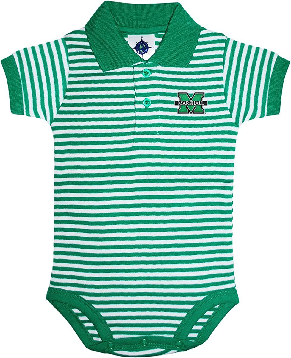 Creative Knitwear Marshall University Thundering Herd Newborn Infant Baby Striped Polo Bodysuit