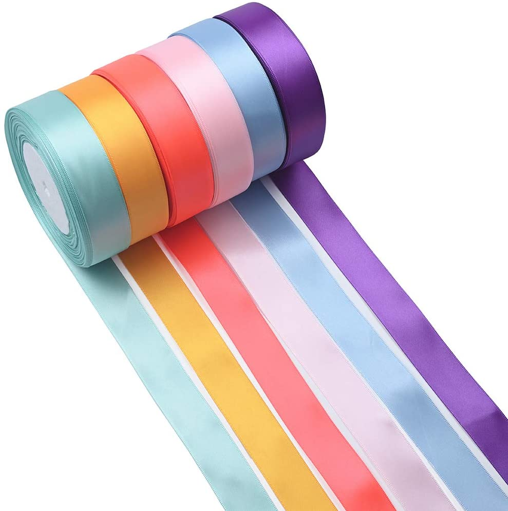 6 Color 150 Yard Satin Ribbon Rolls, 6 Rolls(25 mm Wide),Satin Ribbon Fabric Ribbon Embellish Ribbon for Bows Crafts Gifts Party Wedding Garlands Decor