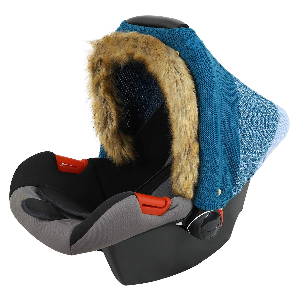 Baby Car Seat Cover Winter with Faux Fur Knitted Stroller Cover Carseat Canopy