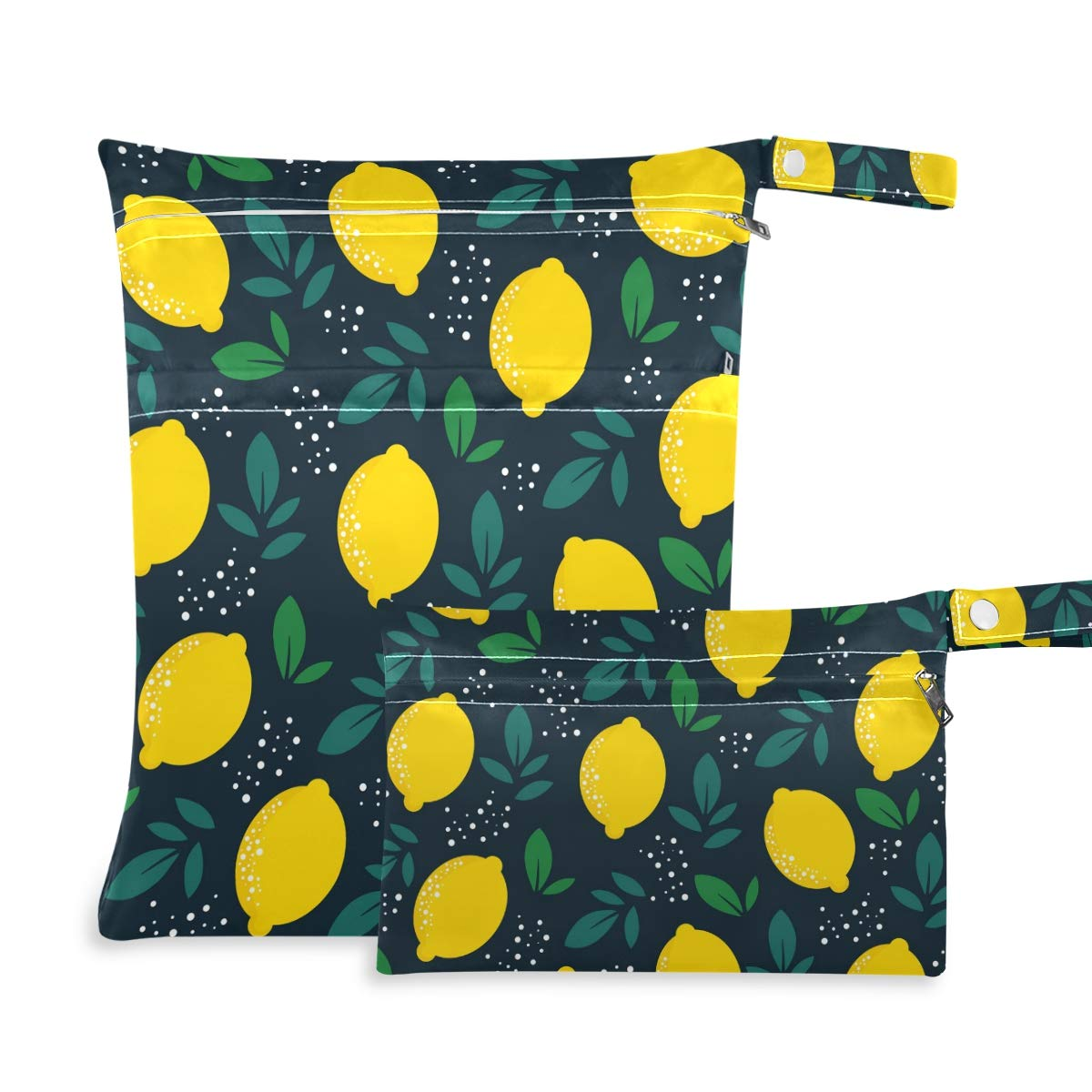 Moudou 2pcs Lemon Wet Dry Bag Waterproof Reusable Baby Cloth Diaper Wet Dry Organizer with Two Zippered Pockets for Travel, Beach, Pool, Stroller, Diapers, Dirty Gym Clothes, Wet Swimsuits