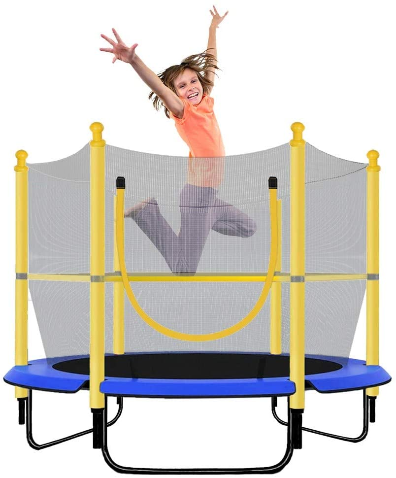 Wenjuan Trampoline with Safety Enclosure -Indoor or Outdoor Trampoline for Kids-Yellow/Blue -5 feet,Birthday Gifts for Kids Boy Girl,Baby Toddler Trampoline Toys,Age 3-6,Max Load 100 lbs,from USA
