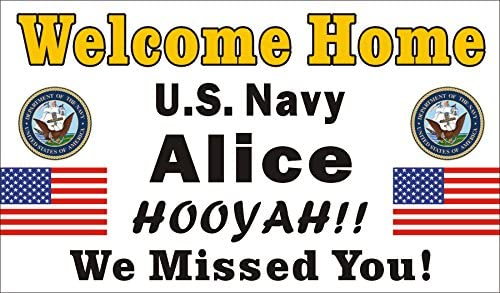 [Vinyl] Alice Graphics 28inX46in Custom Personalized Welcome Home US Navy Banner Sign