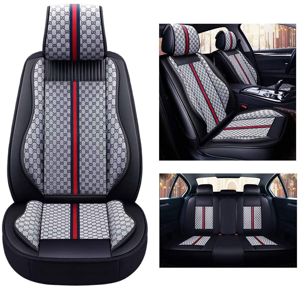 NaDrn Leather Seat Covers for SUV Car Auto Seat Covers Cushion Protector Pad Breathable PU Leather Waterproof Seat Cover for Most of 5 Seat Car, Airbag Compatible,Gray7pcs
