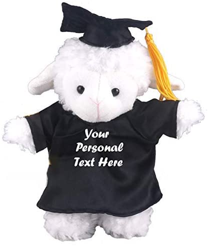 Plushland Plush Stuffed Animal Toys 8 Inches Present Gifts for Graduation Day, Personalized Text, Name or Your School Logo on Gown, Best for Any Grad School Kids (Graduation Sheep Black Gown)
