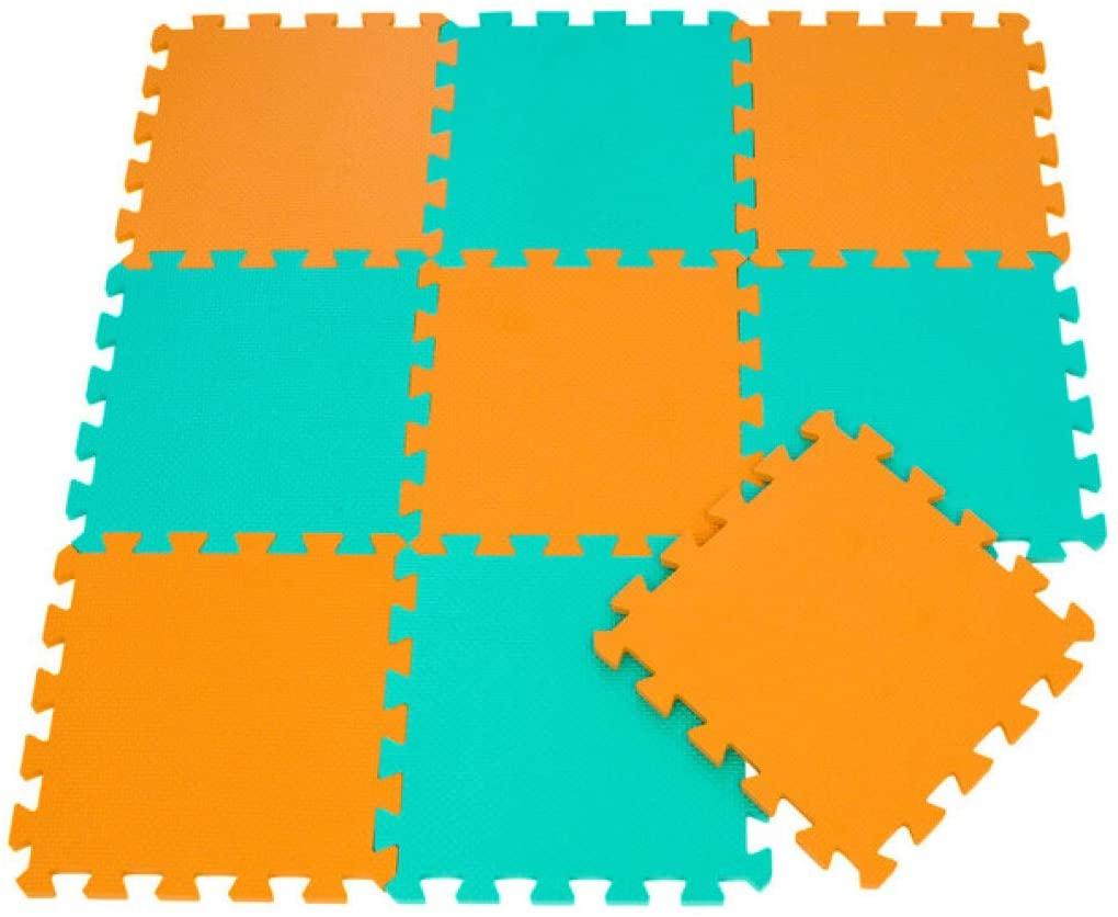 Foam Puzzle Floor Mat 9PCS Orange Blue Green Interlocking Puzzle Mat for Baby Exercise Comfort Play Mat for Classroom