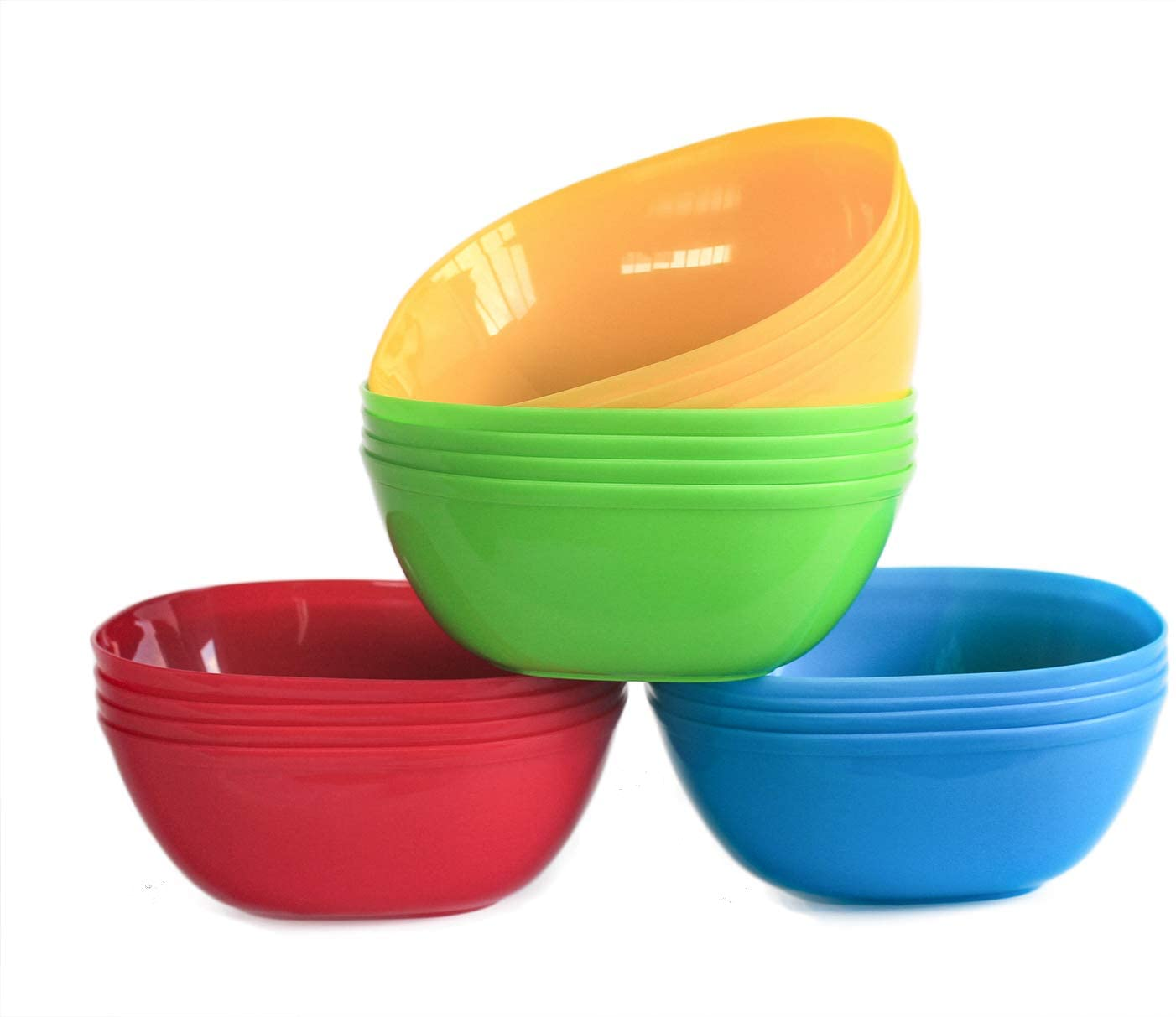 Honla 22oz Plastic Bowls,Set of 16 Unbreakable Cereal Bowls in 4 Assorted Colors