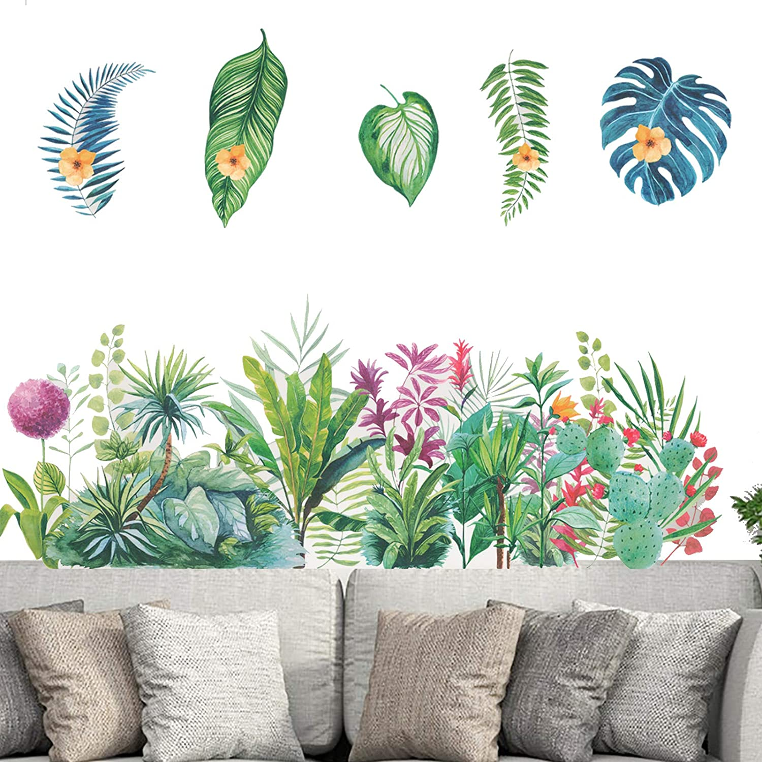 TANOKY Green Plants Tropical Leaf Flower Wall Decal Stickers, Girls Nursery Room Wall Decoration Art Decor Decals, DIY Wall Murals for Bedroom Living Room Home Decoration - Safe on Walls