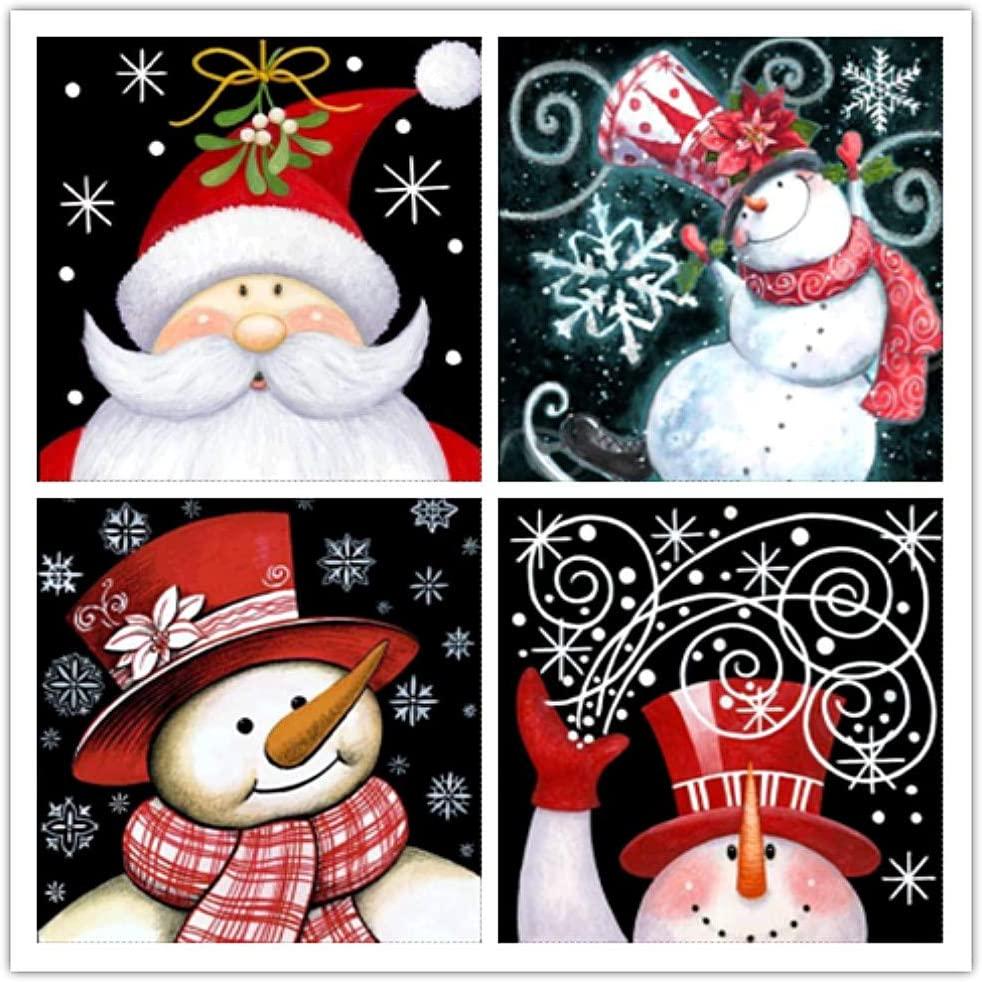 4 Pack Diamond Art Painting Full Drill Kits, Awesocrafts Santa Claus and Snowman, Snow Christmas DIY Mosaic Cross Stitch for Adults Kids (Santa & Snowman)