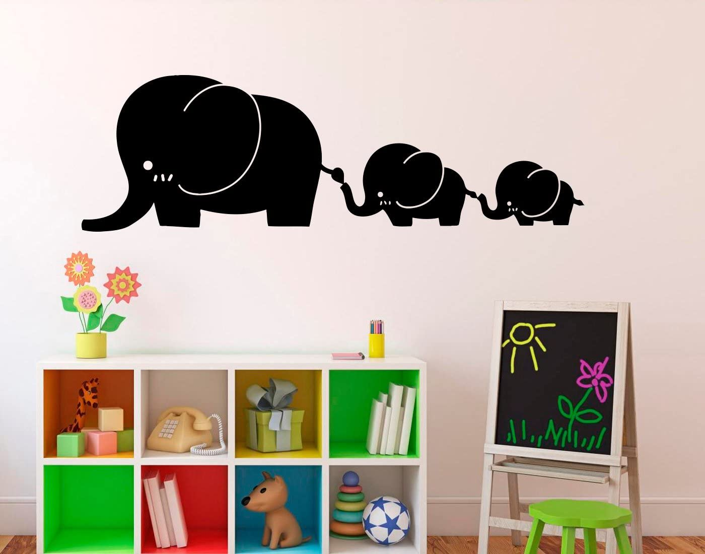 Place Elephants Family Wall Decal - Vinyl Sticker Cartoon Cute Animals Art Decor Home Interior - Kids Baby RoomDesign Bedroom Ideas Made in USA - 22x35 Inch