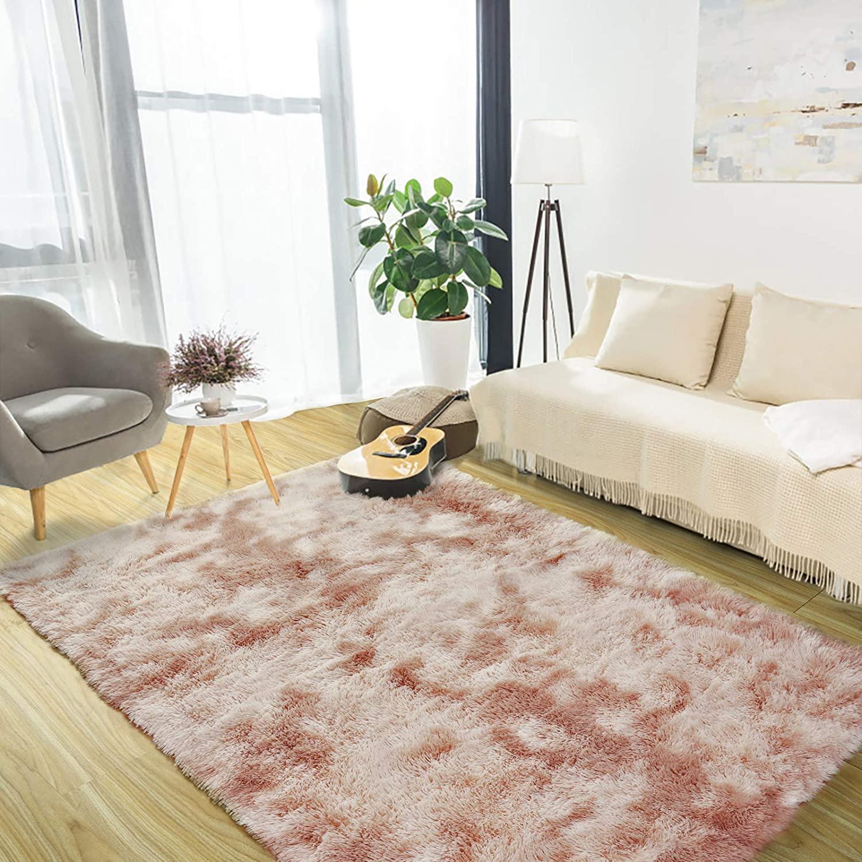 Luxury Velvet Shag Area Rug Soft Modern Fluffy Fur Rugs,Premium Geometric Moroccan Floor Rugs for Bedroom Living Girls Room Kids Indoor Carpet 5' x 8' Camel
