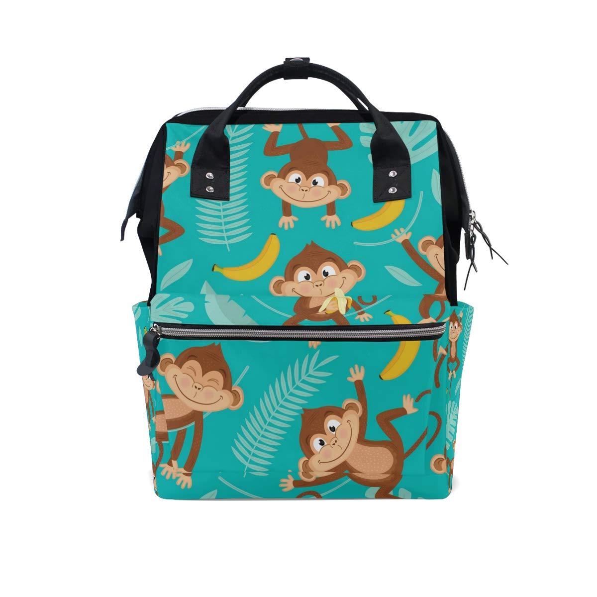 MERRYSUGAR Diaper Bag Backpack Cute Monkey Banana Green Multifunction Travel Bag