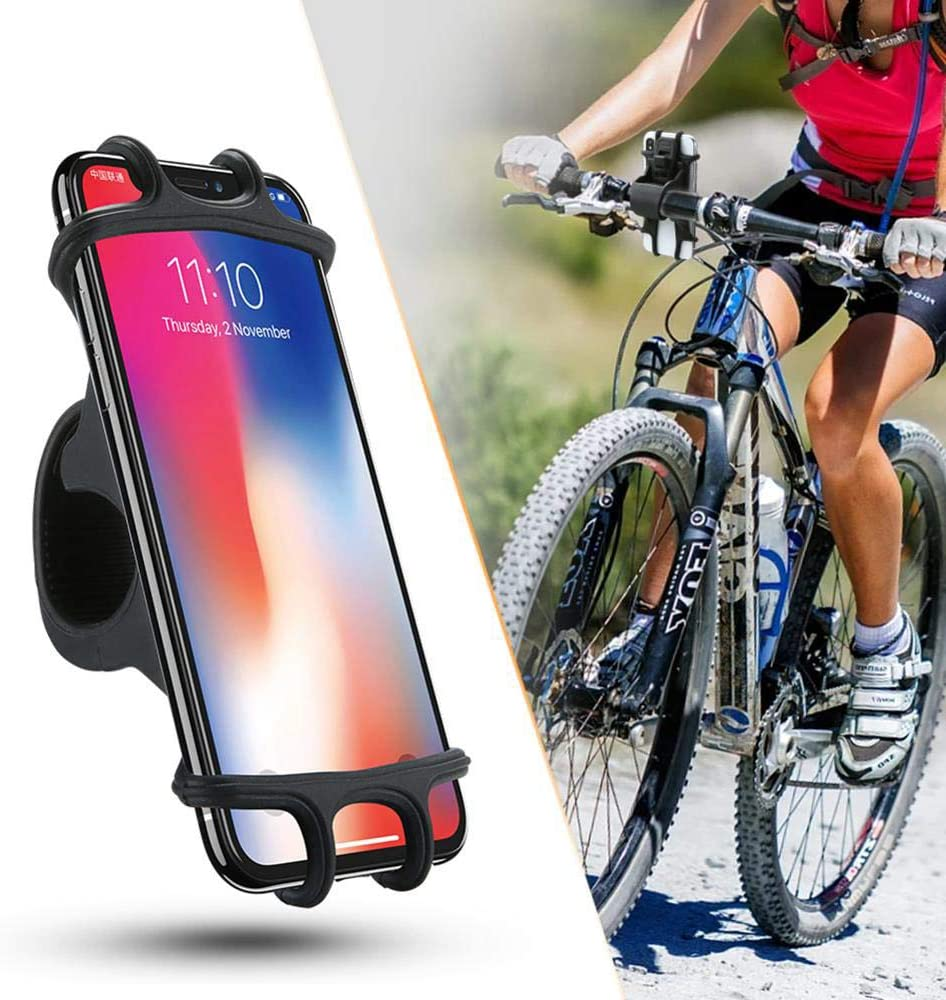 WOSHI Universal Adjustable Silicone Bicycle Phone Holder Mountain Road Bike Handlebar Mount Bracket