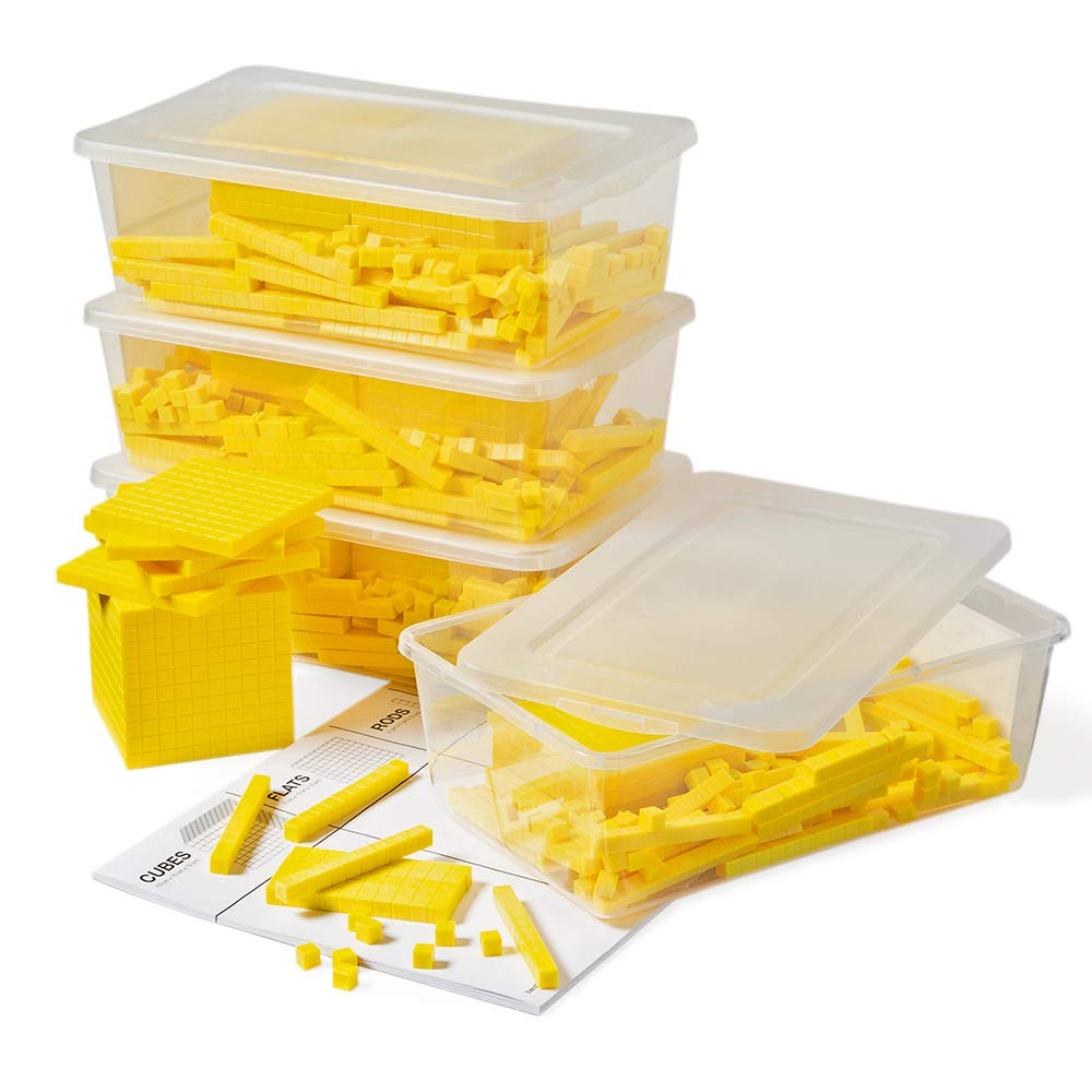 hand2mind Yellow Plastic Base Ten Blocks, Class Set